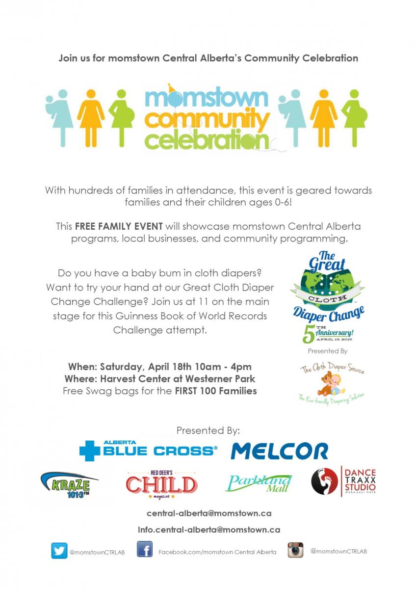 momstown Community Celebration in Red Deer April18th